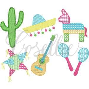 Fiesta build your own embroidery design, Mini fiesta, cactus, sombrero, piñata, maracas, guitar, Birthday, Vintage fiesta, Birthday party, First birthday, Vintage stitch embroidery design, Applique, Machine embroidery design, Blanket stitch, Beanstitch, Vintage
