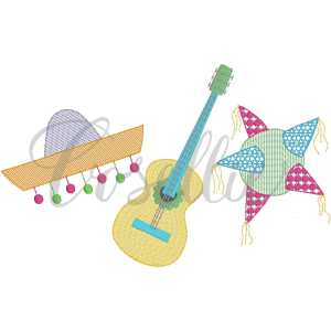 Fiesta party trio embroidery design, Guitar, Sombrero, Piñata, Birthday, Party, Cactus applique, Summer, Vintage stitch embroidery design, Applique, Machine embroidery design, Blanket stitch, Beanstitch, Vintage