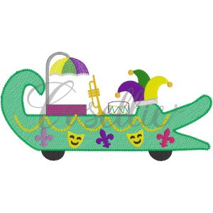 Gator float fill embroidery design, Mardi Gras Float, Beads, Mask, Jester hat, Trumpet, Drum, Mardi Gras parade, Vintage stitch embroidery design, Applique, Machine embroidery design, Blanket stitch, Beanstitch, Vintage