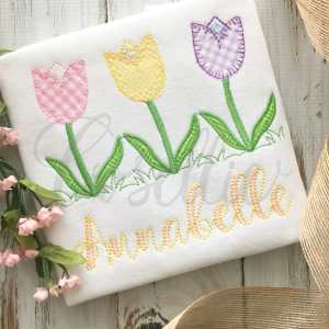 Tulips embroidery design, Tulips, Spring flowers, Vintage stitch embroidery design, Applique, Machine embroidery design, Blanket stitch, Beanstitch, Vintage