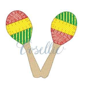 Maracas embroidery design, Maracas applique embroidery design, Maracas, Sombrero, Mexico, Party, Vintage stitch embroidery design, Applique, Machine embroidery design, Blanket stitch, Beanstitch, Vintage