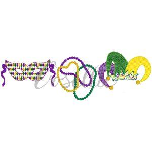 Mardi Gras trio embroidery design, Beads, Mask, Jester hat, Vintage stitch embroidery design, Applique, Machine embroidery design, Blanket stitch, Beanstitch, Vintage