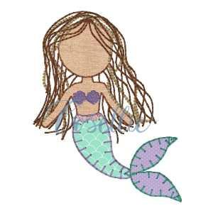 Mermaid embroidery design, Sea embroidery design, Ocean, Mermaid, Summer, Spring, Vintage stitch embroidery design, Applique, Machine embroidery design, Blanket stitch, Beanstitch, Vintage