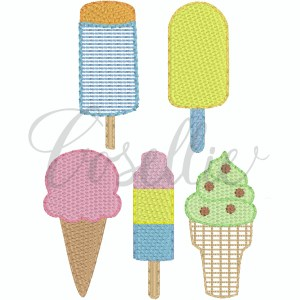 Mini ice creams embroidery designs, Build your own, Ice cream, Popsicle, Summer, Sweets, Treats, Memorial Day, Vintage stitch embroidery design, Applique, Machine embroidery design, Blanket stitch, Beanstitch, Vintage