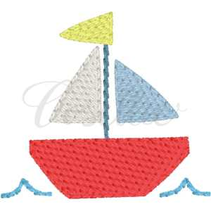 Mini sailboat and waves embroidery design, Sketch sailboat, Boat, Waves, Under the sea, Water, Ocean, Summer, Beach, Spring, Vintage fish, Vintage stitch embroidery design, Applique, Machine embroidery design, Blanket stitch, Beanstitch, Vintage, Classic