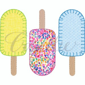 Popsicles applique embroidery design, Popsicles, Ice cream embroidery design, Summer, Popsicle, Ice cream, Spring embroidery design, Vintage stitch embroidery design, Applique, Machine embroidery design, Blanket stitch, Beanstitch, Vintage
