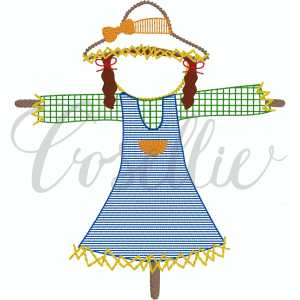 Scarecrow girl embroidery design, Girl scarecrow, Thanksgiving embroidery design, Vintage stitch embroidery design, Applique, Machine embroidery design, Blanket stitch, Beanstitch, Vintage, Classic, Sketch