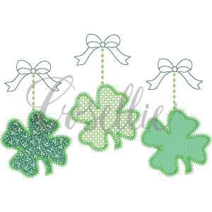 Shamrocks trio embroidery design, Shamrocks, Pot of gold, Four leaf clover, Bow, Vintage stitch embroidery design, Applique, Machine embroidery design, Blanket stitch, Beanstitch, Vintage
