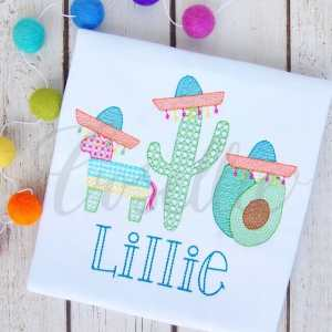 Sombrero Hats trio sketch embroidery design, Cactus, Avocado, Sombrero, Piñata, Birthday, Party, Cactus applique, Summer, Vintage stitch embroidery design, Applique, Machine embroidery design, Blanket stitch, Beanstitch, Vintage