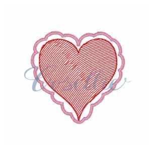 Mini scallop heart embroidery design, Heart applique, Valentines hearts, Mini, Vintage stitch embroidery design, Applique, Machine embroidery design, Blanket stitch, Beanstitch, Vintage