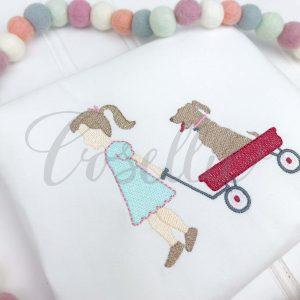 Girl Wagon Dog embroidery design, Girl and dog, Wagon, Girl embroidery design, Lab, Dog, Vintage stitch embroidery design, Applique, Machine embroidery design, Blanket stitch, Beanstitch, Vintage