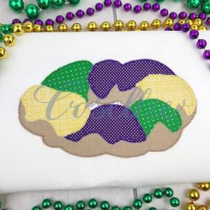 King Cake applique embroidery design, Mardi Gras, King cake, Mardi Gras appliqué, Vintage Mardi Gras, Vintage stitch embroidery design, Applique, Machine embroidery design, Blanket stitch, Beanstitch, Vintage