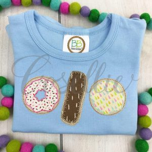 Donuts applique embroidery design, Vintage donuts, Donut applique, Doughnut, Food, Sweets, Vintage stitch embroidery design, Applique, Machine embroidery design, Blanket stitch, Beanstitch, Vintage
