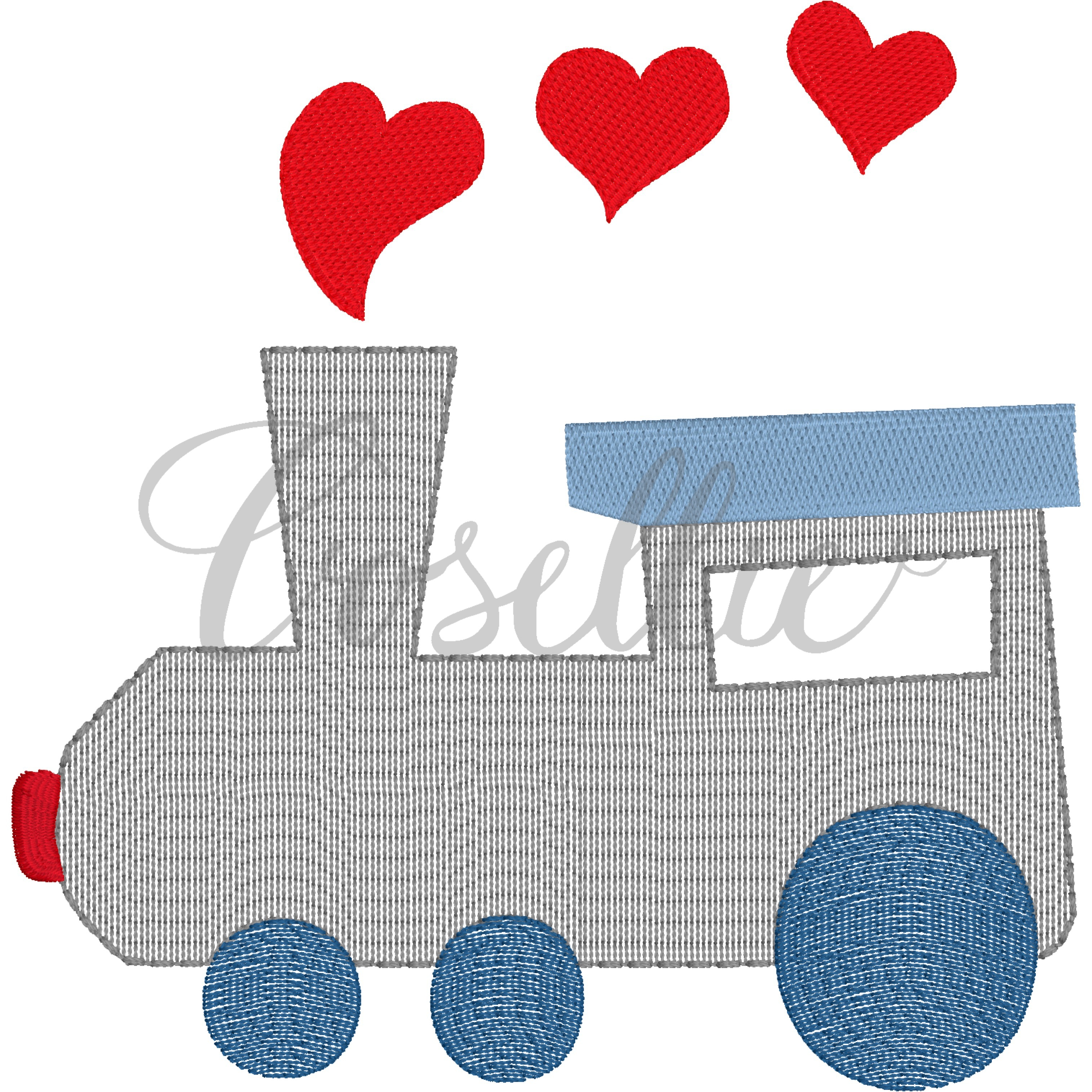 Valentines Train Embroidery Design Machine Embroidery Cosellie