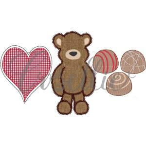 Valentines trio embroidery design, Valentines heart bear chocolates embroidery design, Valentines embroidery design, Teddy bear, Chocolates, Heart, Bear, Vintage stitch embroidery design, Applique, Machine embroidery design, Blanket stitch, Beanstitch, Vintage