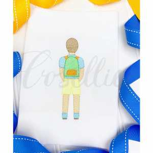 Boy with backpack embroidery design, Boy, Backpack, Pencils, Girl, Crayons, Vintage crayons, Back to school, Vintage stitch embroidery design, Applique, Machine embroidery design, Blanket stitch, Beanstitch, Vintage, Classic