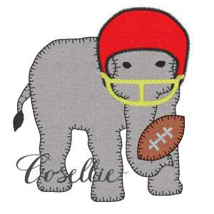 Elephant football helmet embroidery design, Football, Elephant, Alabama, Vintage stitch embroidery design, Applique, Machine embroidery design, Blanket stitch, Beanstitch, Vintage