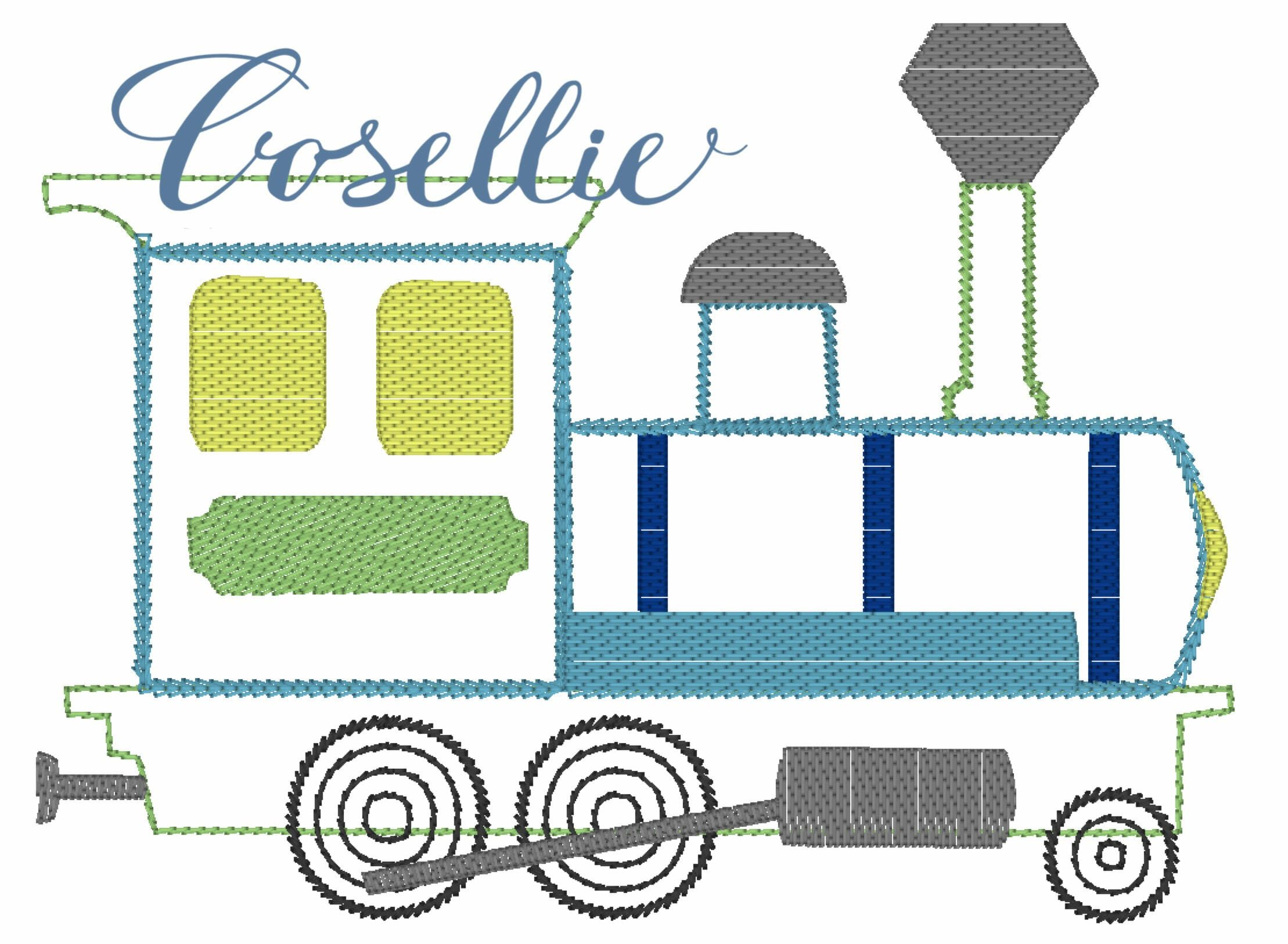 Vintage Train Embroidery Design Embroidery Design Cosellie