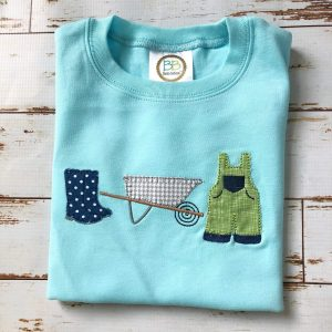 Boy Garden Trio embroidery design, Boy spring embroidery design, Rainboots, Wheelbarrow, Overalls, Spring embroidery design, Vintage stitch embroidery design, Applique, Machine embroidery design, Blanket stitch, Beanstitch, Vintage