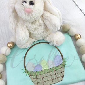 Easter basket embroidery design, Vintage Easter, Easter basket, Easter eggs, Easter, Spring, Easter, Vintage stitch embroidery design, Applique, Machine embroidery design, Blanket stitch, Beanstitch, Vintage