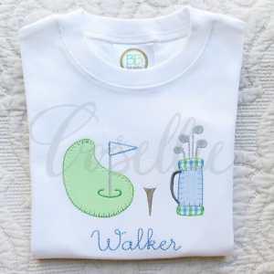 Golf trio applique embroidery design, Golf embroidery design, Golf, Golf clubs, Golf ball, Golf green, Vintage stitch embroidery design, Applique, Machine embroidery design, Blanket stitch, Beanstitch, Vintage