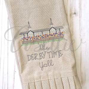 Horse racing stands embroidery design, Kentucky Derby, Churchill Downs, Horse race, Racing, Horses, Race horse, Outline, Vintage stitch embroidery design, Applique, Machine embroidery design, Blanket stitch, Beanstitch, Vintage