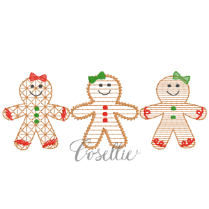 Gingerbread girls embroidery design, Vintage Christmas, Winter, Vintage stitch embroidery design, Applique, Machine embroidery design, Blanket stitch, Beanstitch, Vintage, Gingerbread girls