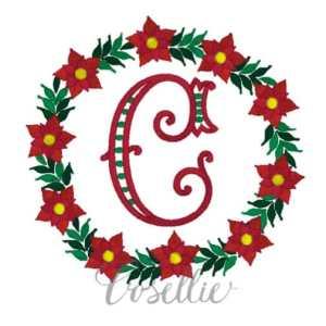 Poinsettia frame embroidery design, Poinsettia frame, Name frame, Font frame, Vintage Christmas, Winter, Vintage stitch embroidery design, Applique, Machine embroidery design, Blanket stitch, Beanstitch, Vintage