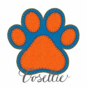 Paw print embroidery design, Football, Tiger paw print, Tiger paw, Tiger, Auburn, LSU, Clemson, Vintage stitch embroidery design, Applique, Machine embroidery design, Blanket stitch, Beanstitch, Vintage