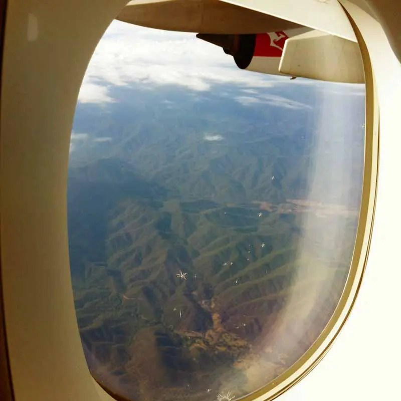 View from the airplane window over Australia.