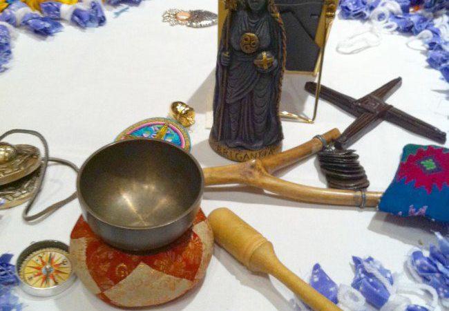 Selena Fox's Brigid Circle of Healing Ritual altar at PantheaCon 2012.