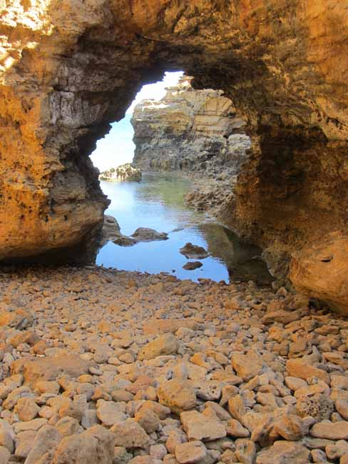 Limestone arch on the beach.