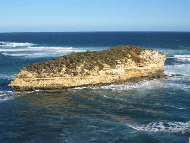 The rocky coastline.