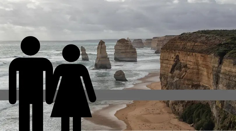 A male and female figure next to a view of the Twelve Apostles.