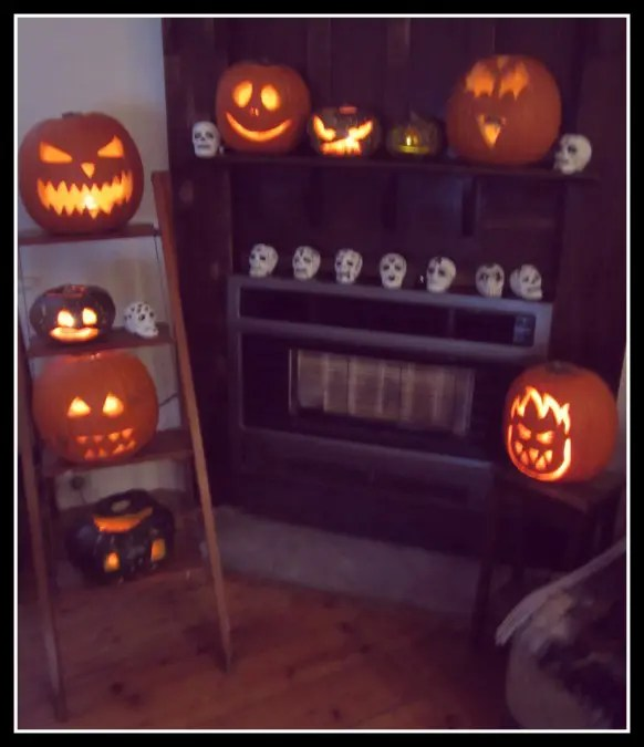 Carved Halloween pumpkins.