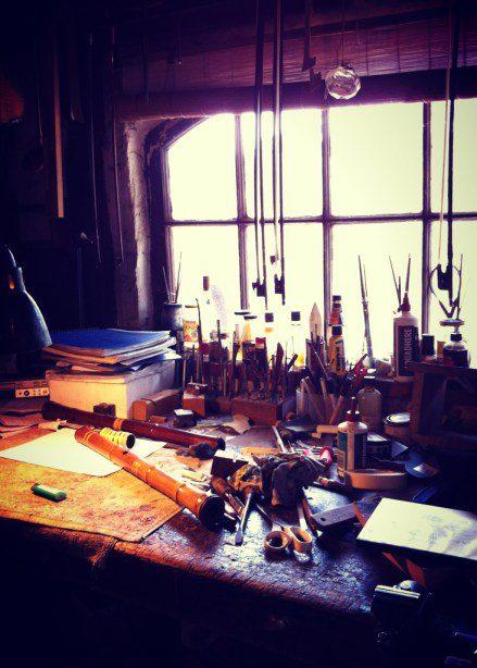 Montsalvat Artist David Brown's workbench.