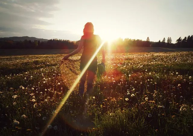 Young woman in a field facing the sun as it sets.