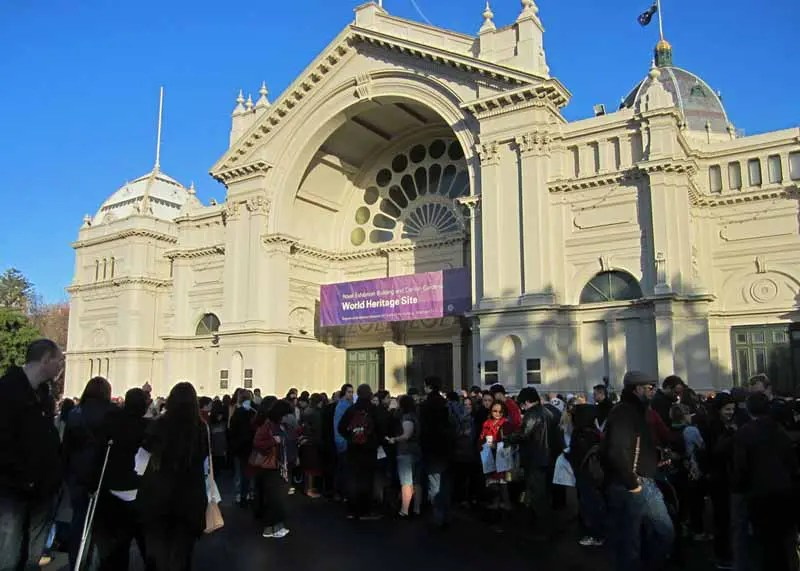 A crowd outside the Royal Exhibition Building.