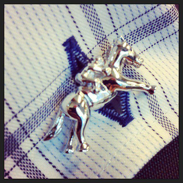 Racehorse cuff links.