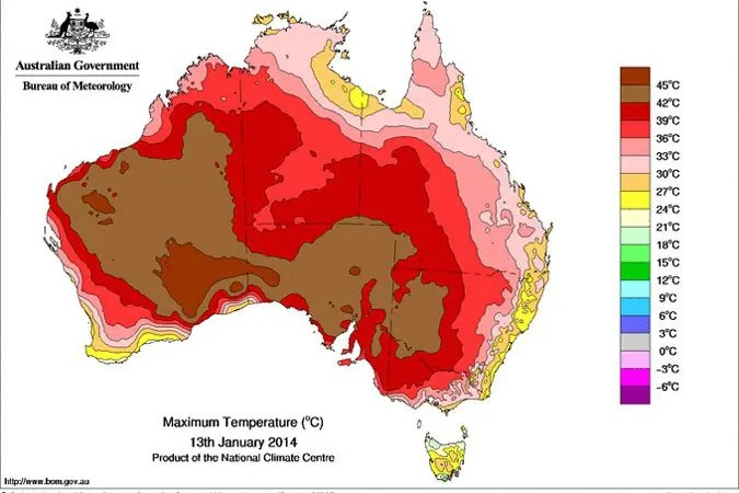 Heatwave map from BOM.