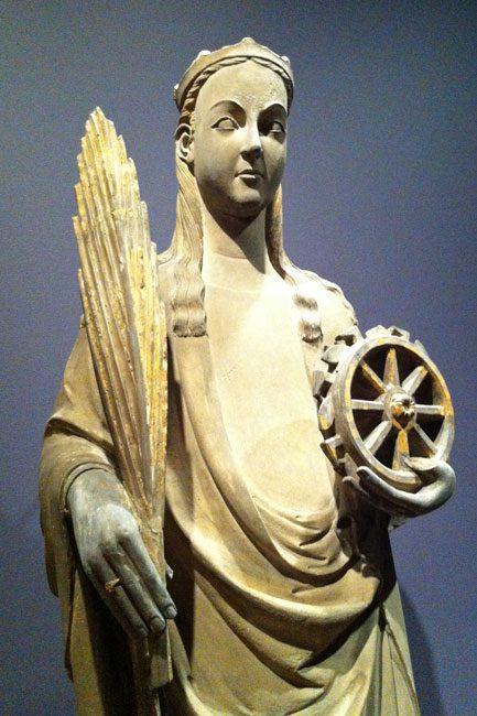 St Catherine, Spain, c. 1350, limestone.