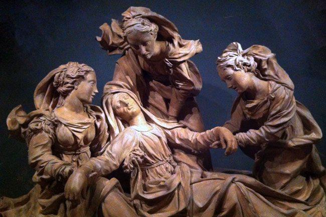 The Virgin attended by three holy women, Antonio Begarelli, Italian, c. 1530, earthenware.