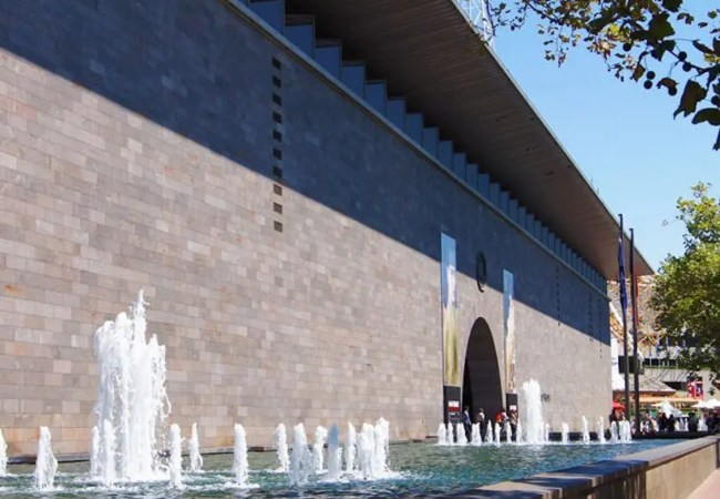 Outside the NGV, National Gallery Victoria.