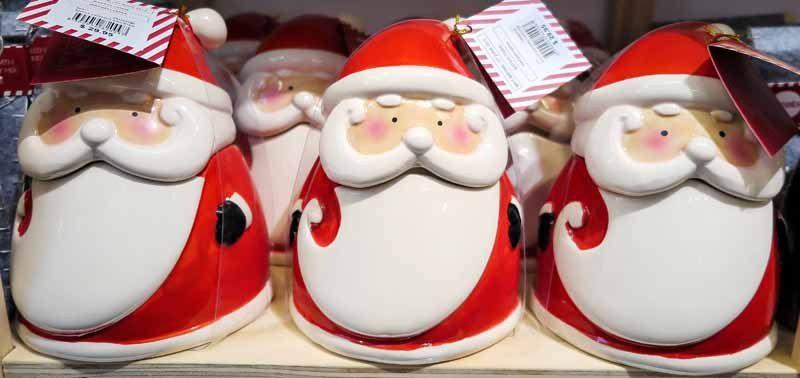 Santa Claus-shaped jars.