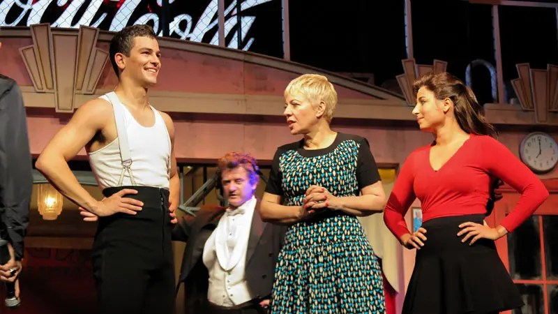 Catherine Martin on stage with Thomas Lacey (Scott) and Pheobe Panaretos (Fran).