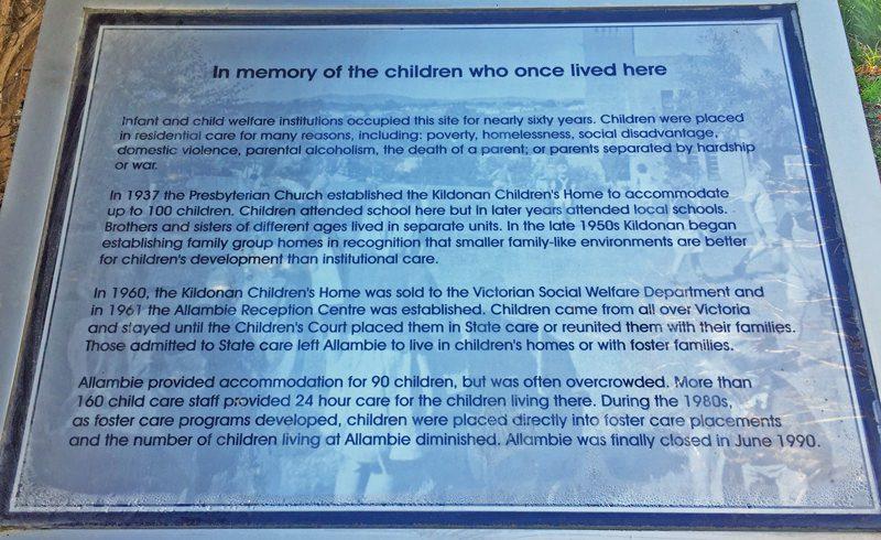 Memorial sign to Forgotten Australians at Allambie.