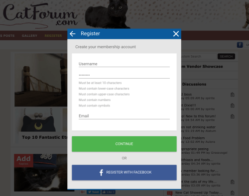 The registration form at catforum.com, which includes SSO using Facebook.
