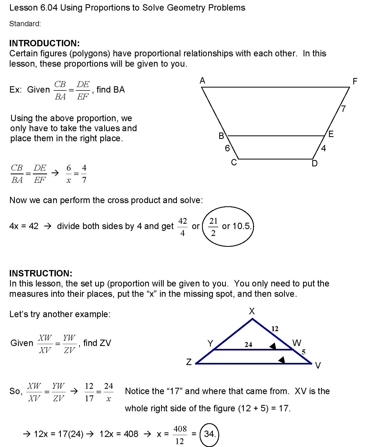 hight resolution of cosgeometry / Lesson 6-04 Using Proportions to Solve Geometry Problems