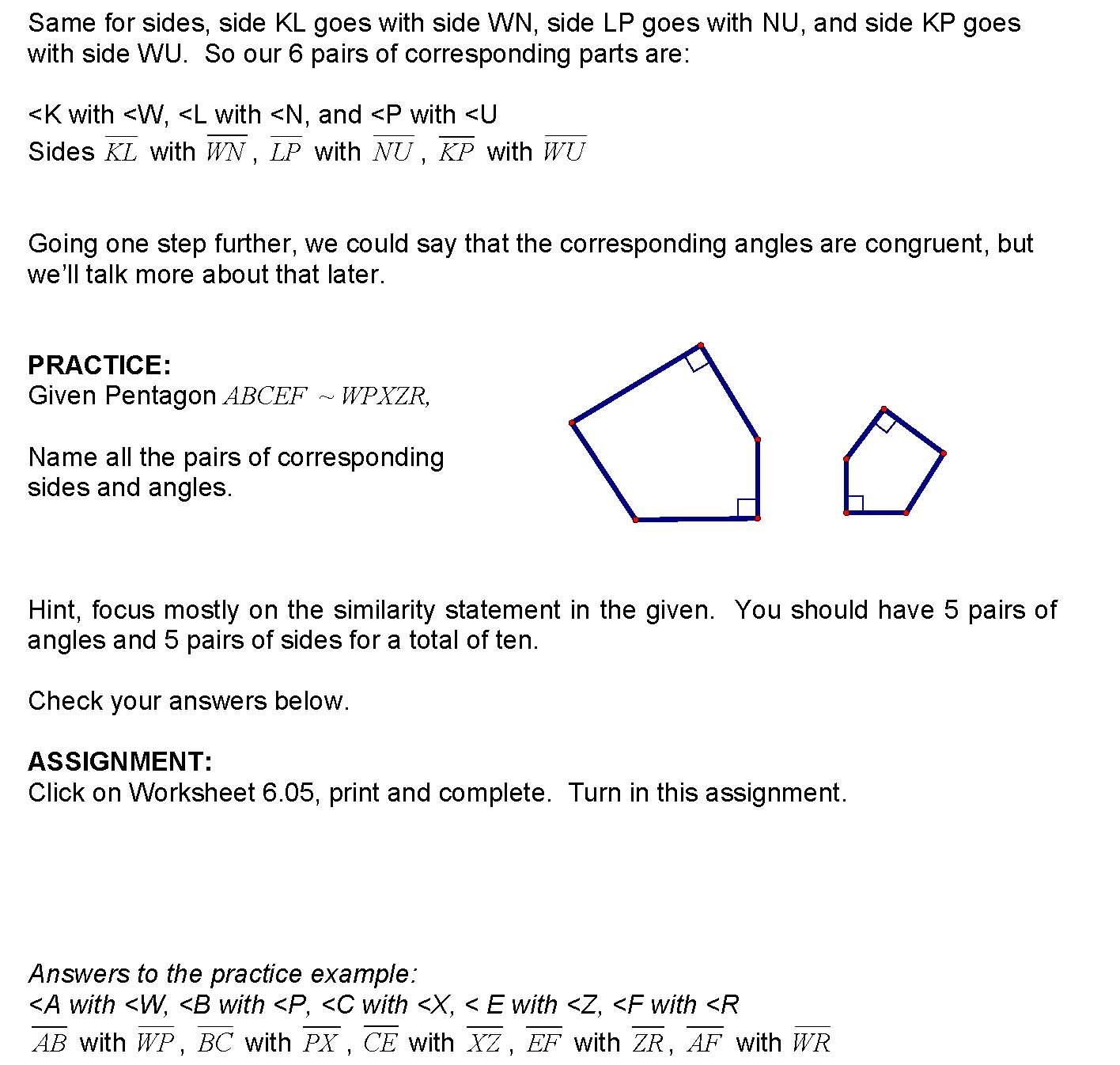 Cosgeometry Lesson 6 05 Corresponding Parts Of Similar