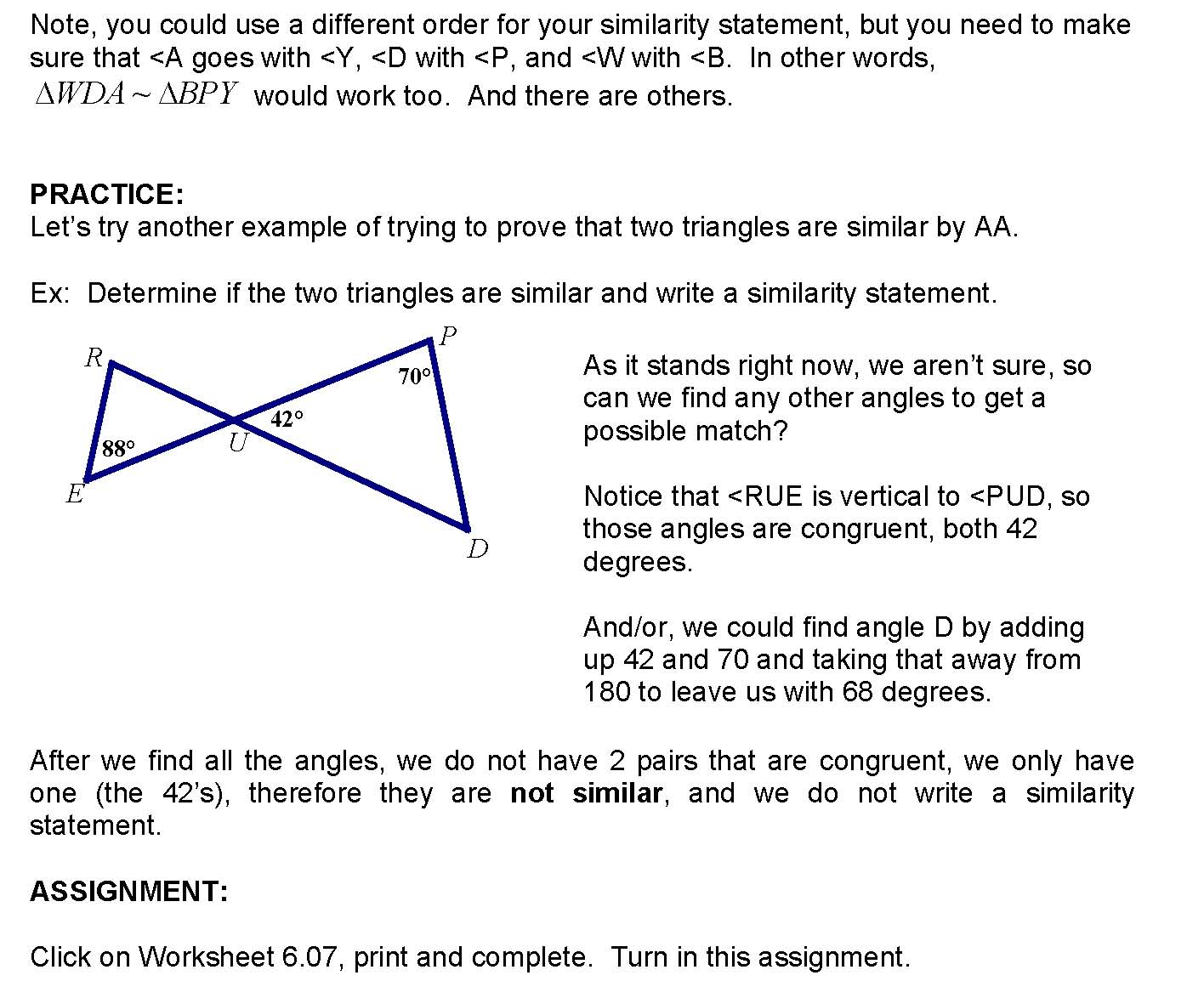 Cosgeometry Lesson 6 07 Proving Triangles Similar By Aa